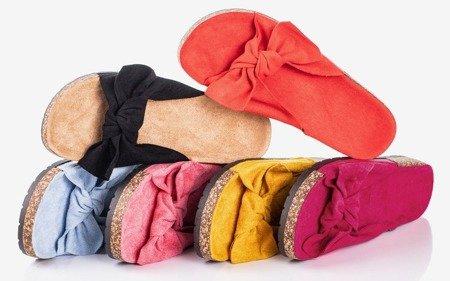 Różowe klapki damskie z kokardką Sun and Fun - Obuwie