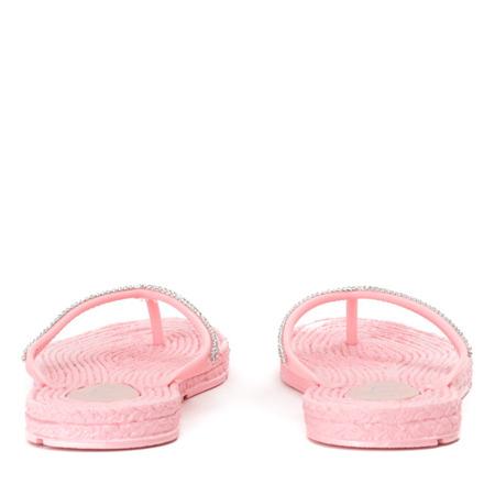 Różowe klapki japonki z cyrkoniami Blumena - Obuwie