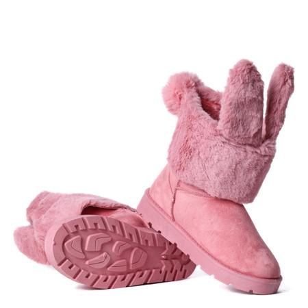 Różowe ocieplane śniegowce z uszami królika Pily - Obuwie