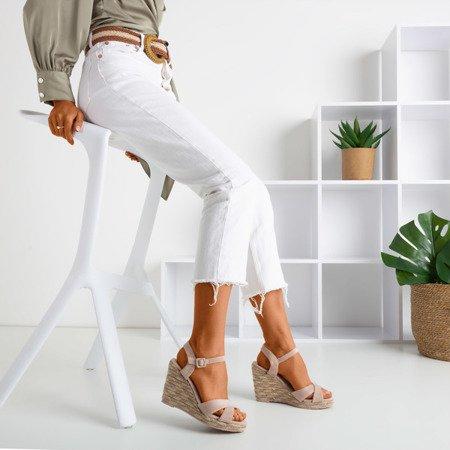 Różowe sandały na koturnie Porciss - Obuwie