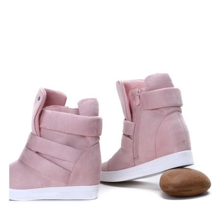 Różowe sneakersy na krytym koturnie My Little Love- Obuwie