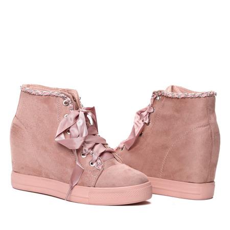 Różowe sneakersy na krytym koturnie wiązane wstążką Isabela- Obuwie