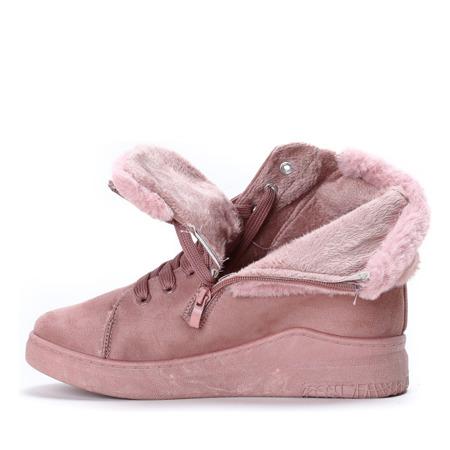 Różowe sneakersy ocieplane Mela - Obuwie
