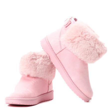 Różowe śniegowce z kokardą - Obuwie