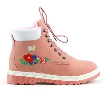 Różowe sznurowane trapery z kwiatami - Obuwie