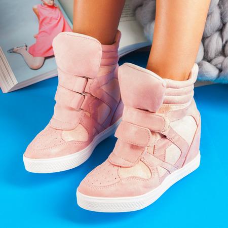 Różowe, zamszowe sneakersy na koturnie Adelaid - Obuwie