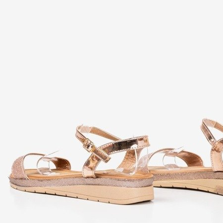 Różowo - złote damskie sandały na niskiej koturnie Lisia - Obuwie