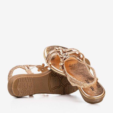 Różowo - złote damskie sandały z kryształkami Crisela - Obuwie