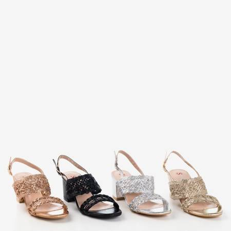 Różowo - złote sandały na słupku Neze - Obuwie