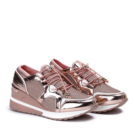 Różowo złote sportowe buty z metalicznym wykończeniem na niskiej koturnie Aida Obuwie