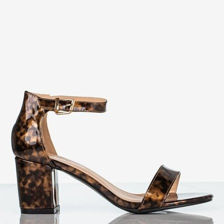 Sandały damskie na niskim słupku a'la panterka Puddin - Obuwie