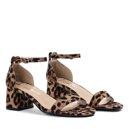 Sandały na niskim słupku w panterkę Roxeta - Obuwie