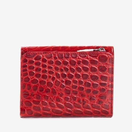 Skórzany mały portfel damski w kolorze czerwonym - Portfel