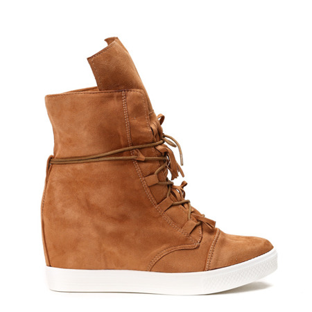 Sneakersy na koturnie w kolorze camel - Obuwie