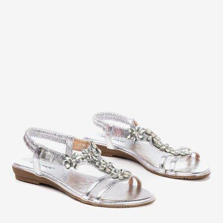 Srebrne damskie sandały z kryształkami Crisela - Obuwie