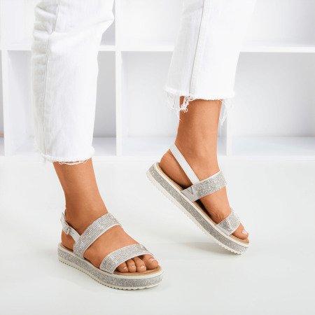 Srebrne sandały damskie z cyrkoniami Arella - Obuwie