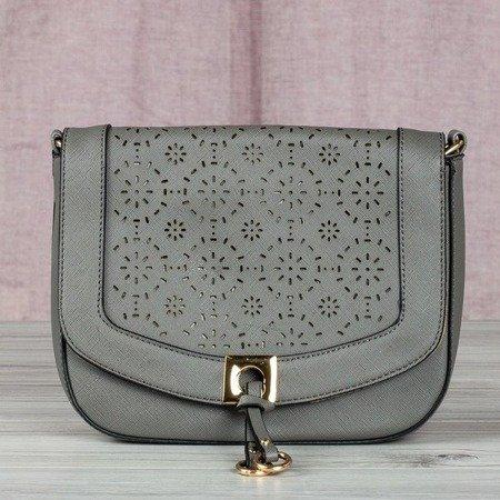 Szara mała torba damska z ażurowym zdobieniem - Torebki