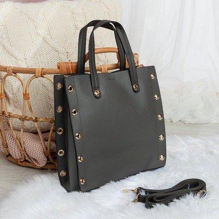 Szara średnia torebka na ramię z eko - skóry - Torebki