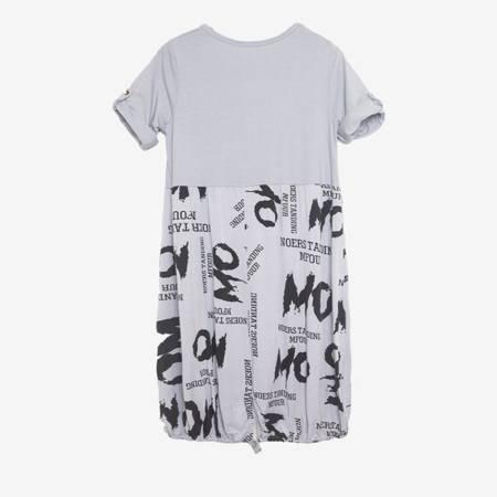 Szara tunika w napisy - Odzież