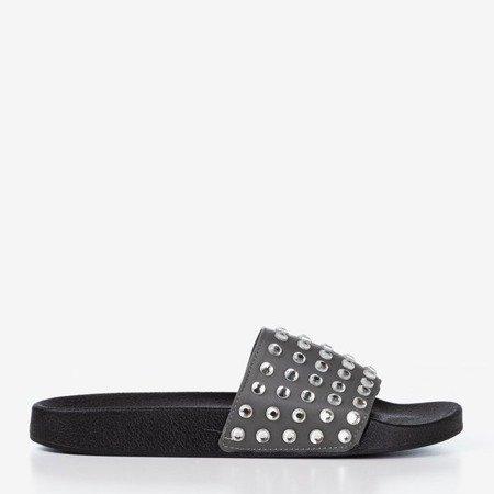 Szare damskie klapki z diamencikami Diamenta - Obuwie
