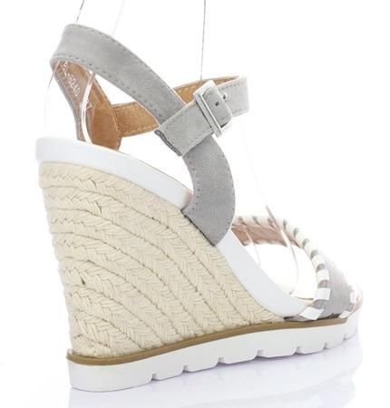 Szare damskie sandały na koturnie Gaba - Obuwie