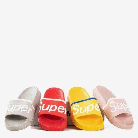 Szare dziecięce klapki z napisem Super - Obuwie