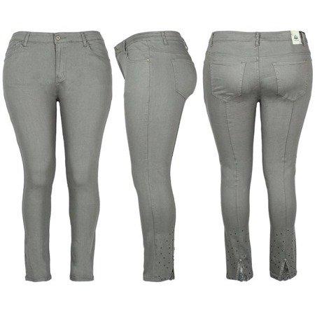 Szare jeansy z wysokim stanem PLUS SIZE - Spodnie