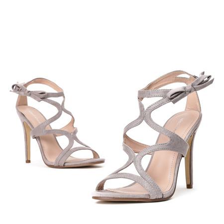 Szare sandały na szpilce Adalina - Obuwie