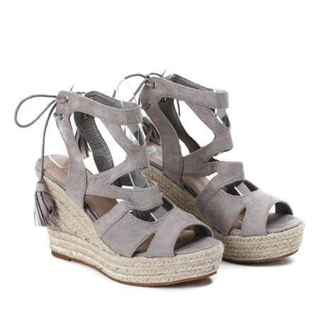 Szare sandały na wysokiej koturnie Milton - Obuwie