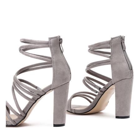 Szare sandały na wysokim słupku Almidia - Obuwie