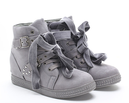 Szare sneakersy na koturnie z ćwiekami Savannah - Obuwie