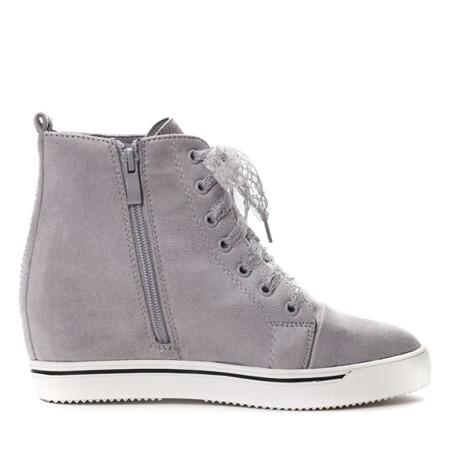 Szare sneakersy na krytym koturnie Berenice- Obuwie