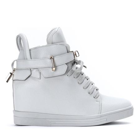 Szare sneakersy na krytym koturnie Sinnea - Obuwie
