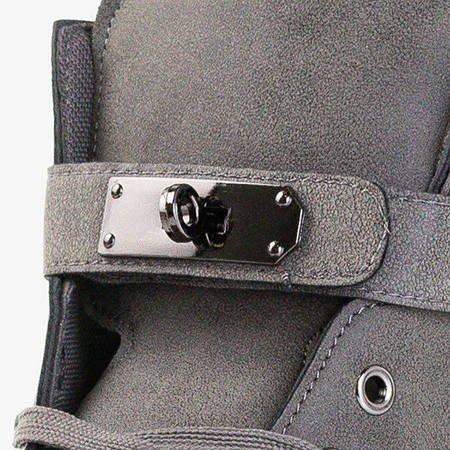 Szare sneakersy ze srebrnymi ozdobami Kardi - Obuwie