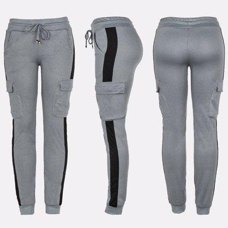 Szare spodnie dresowe z kieszeniami - Spodnie