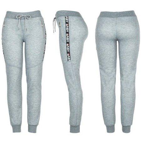 Szare spodnie dresowe z napisami - Spodnie