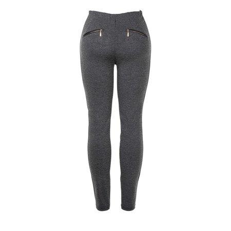 Szare spodnie z wysokim stanem - Spodnie