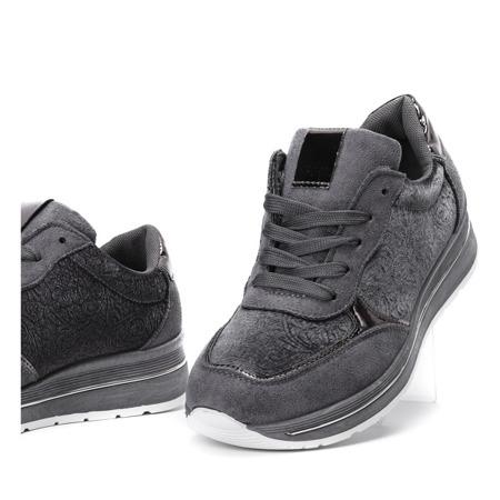 Szare sportowe buty z welurem Jessy - Obuwie