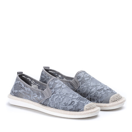 Szaro - niebieskie espadryle zdobione koronkowym materiałem Rose - Obuwie