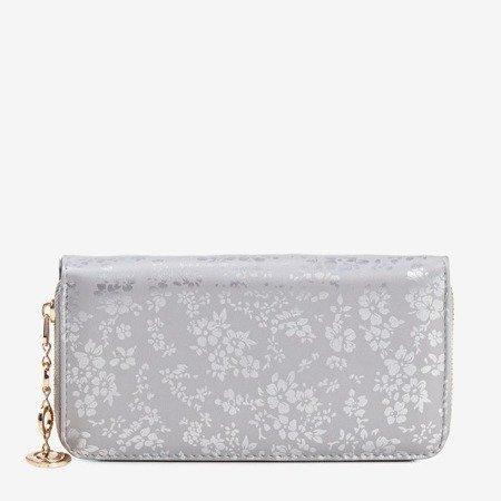 Szary damski portfel w kwiatki - Portfel