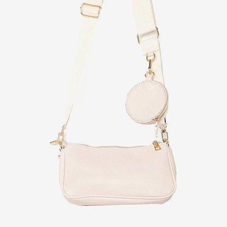 Trzyczęściowa mała torebka damska w kolorze beżowym - Torebki