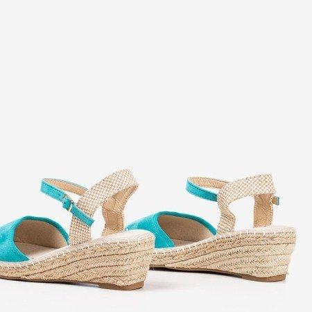 Turkusowe sandały na koturnie a'la espadryle Jorcia - Obuwie