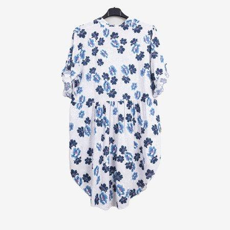 Wzorzysta tunika damska w kolorze białym - Odzież