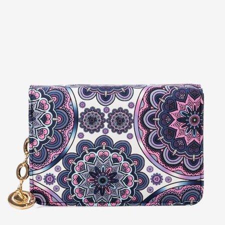 Wzorzysty mały portfel damski w kolorze fioletowym - Portfel