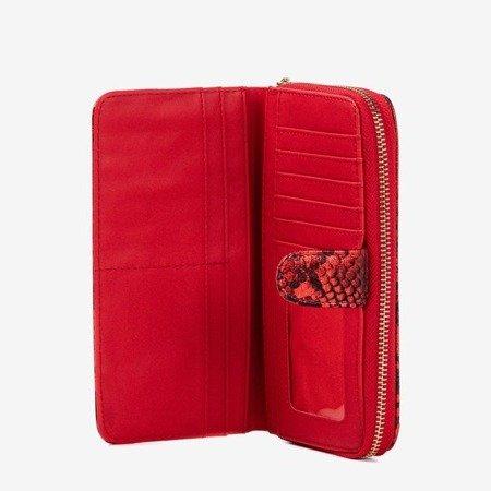 Wzorzysty portfel damski a'la skóra węża w kolorze czerwonym - Portfel