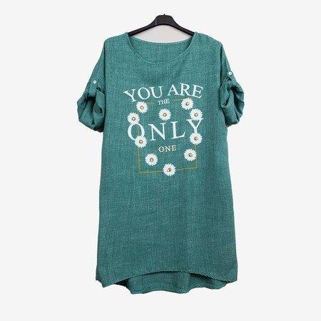 Zielona damska tunika z napisem - Odzież