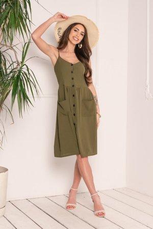 Zielona sukienka zapinana na guziki - Odzież