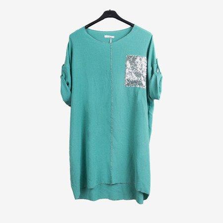 Zielona tunika damska z ozdobną kieszonką tunika damska z napisami - Odzież