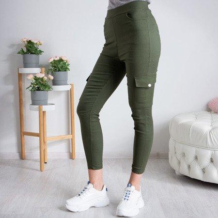 Zielone damskie spodnie materiałowe tregginsy - Spodnie