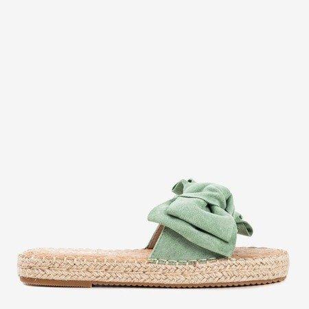 Zielone klapki z kokardką Playa - Obuwie